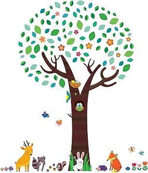 huge animals Nursery Decor Tree  Art Decal Removable wall Stickers kids room