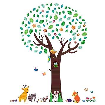 Decowall Dm 1312n Groß Baum Mit Waldtiere Tiere Wandtattoo