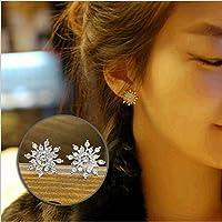ITS Fashion Elegant Rhinestone Women Crystal Snowflake Earrings Ear Stud (Silver)