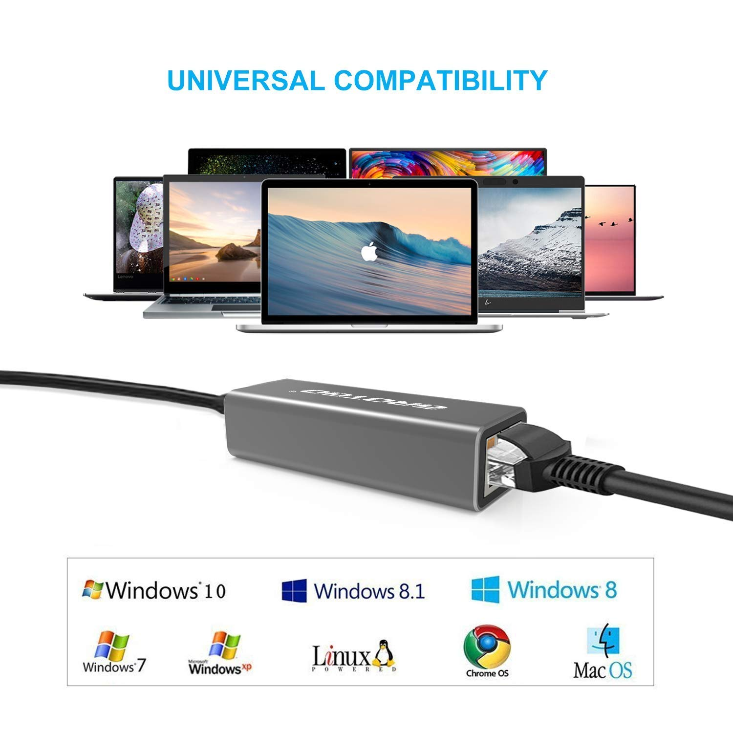 aROTaO USB-C to Ethernet Adapter iPad Pro 2018 Thunderbolt 3// USB 3.1 Type C to RJ45 Gigabit Ethernet LAN Network Adapter Compatible for MacBook,MacBook Pro,ChromeBook Pixel Samsung S8//S9 and More
