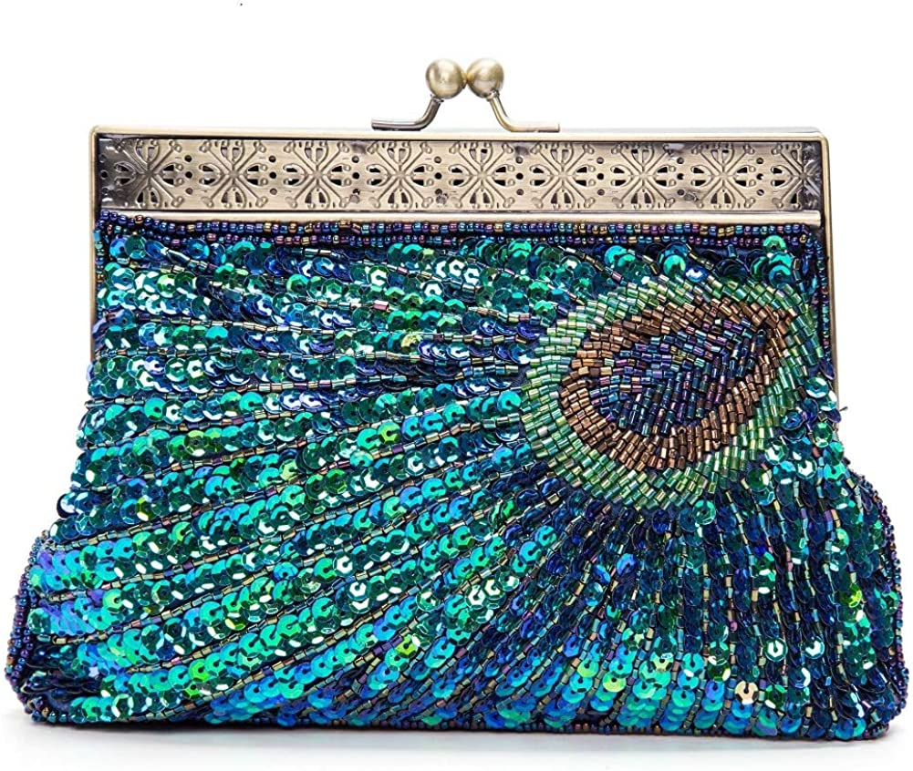 Blue KISSCHIC Vintage Beaded Sequin Peacock Clutch Purse Evening Bags