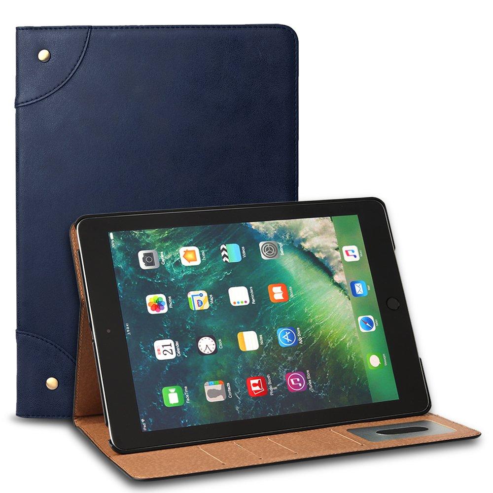 新しいiPad 2017ケース、FeitennレトロリベットスリムフィットフリップPUレザー財布型ケースViewingフォリオスタンドカードスロットホルダースマートカバーfor New iPad 9.7インチ2017  ブルー B071ZPQW8Z