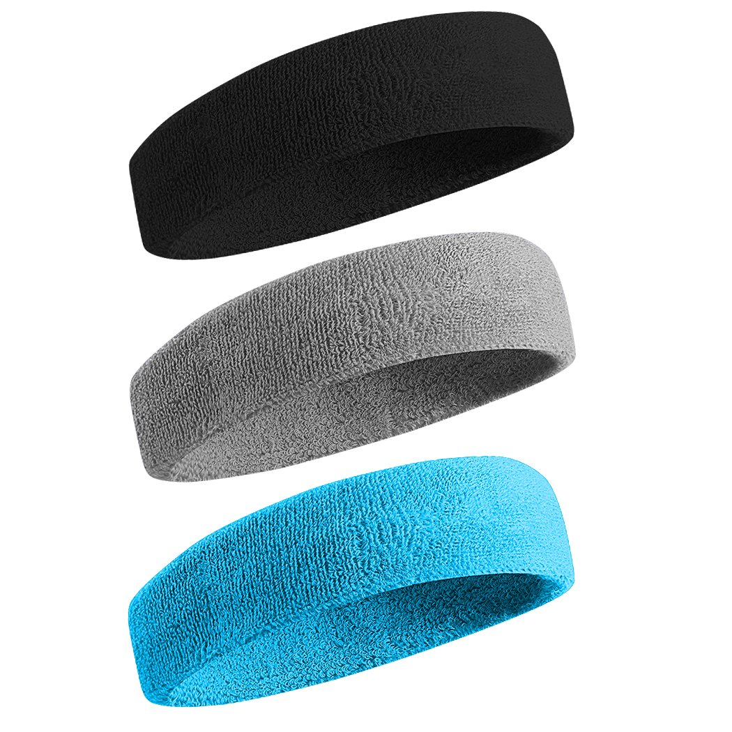 BEACE Sweatband Sports Headband/Wristband for Men & Women - 3PCS / 6PCS Moisture Wicking Athletic Cotton Terry Cloth Sweatband for Tennis, Basketball, Running, Gym, Working Out by BEACE