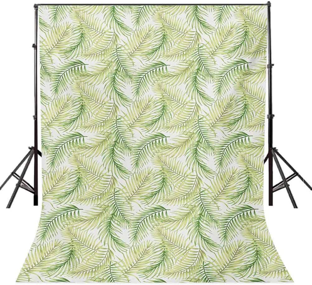 Green Leaves of Coconut Palms Watercolor Style Fresh Nature Pattern Background for Kid Baby Boy Girl Artistic Portrait Photo Shoot Studio Props Video Drape Vinyl 10x12 FT Photography Backdrop