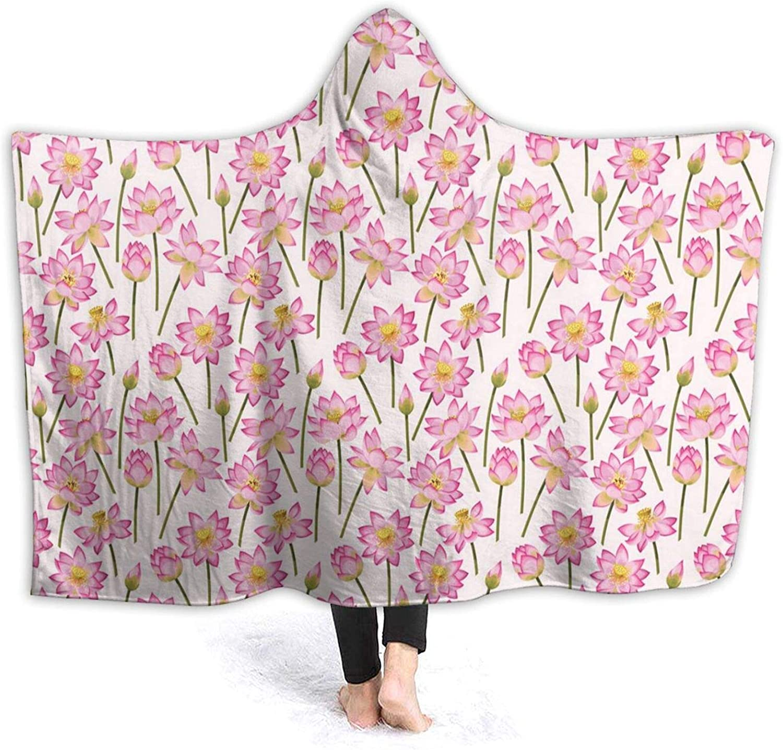 Manta con capucha de 200 x 152 cm, flores florecientes de purificación del alma remedio arcaico homeopático, manta portátil unisex