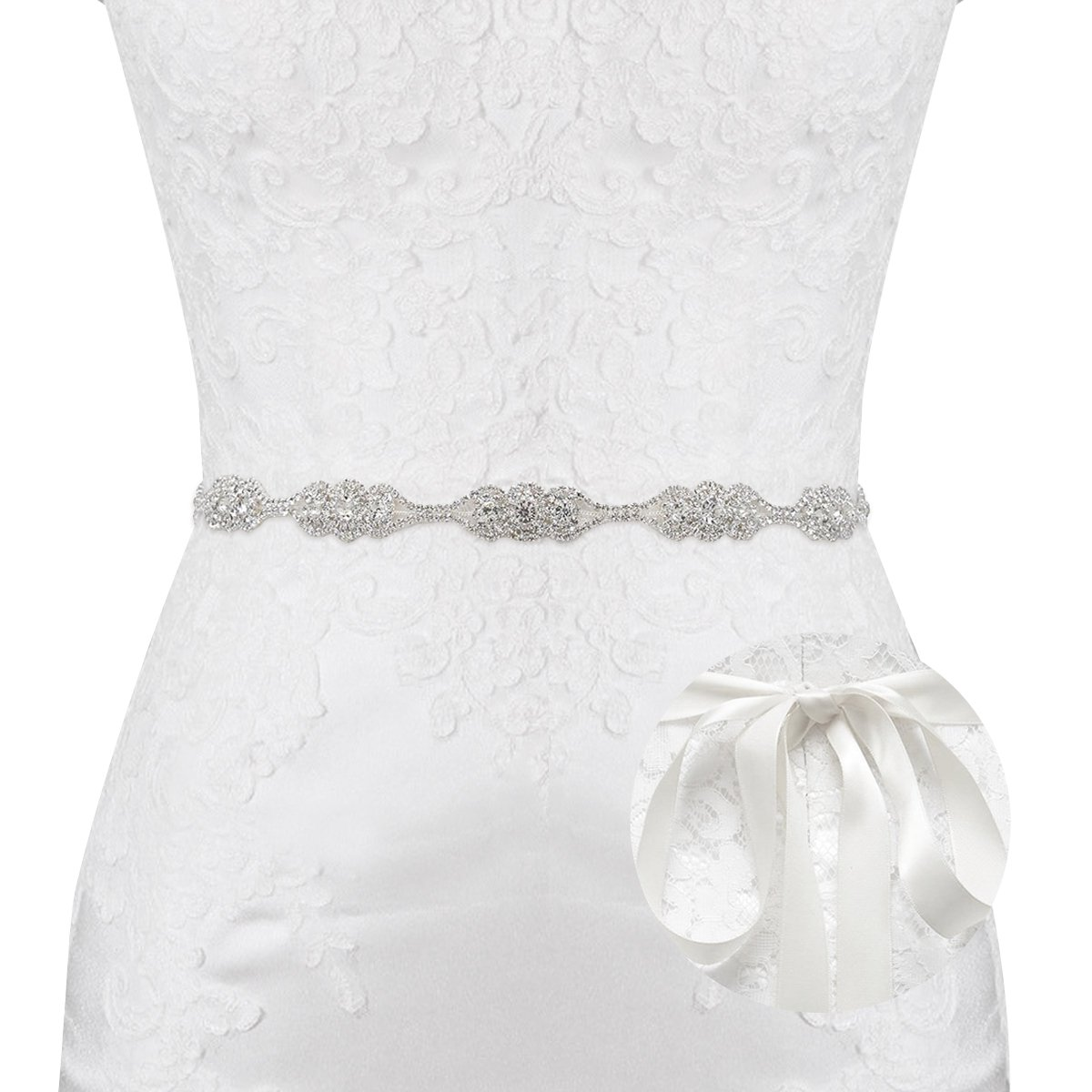 E-Clover Crystal Silver Floral Satin Bridal Sash Wedding Belt for Bride, Bridesmaid (Off-White)