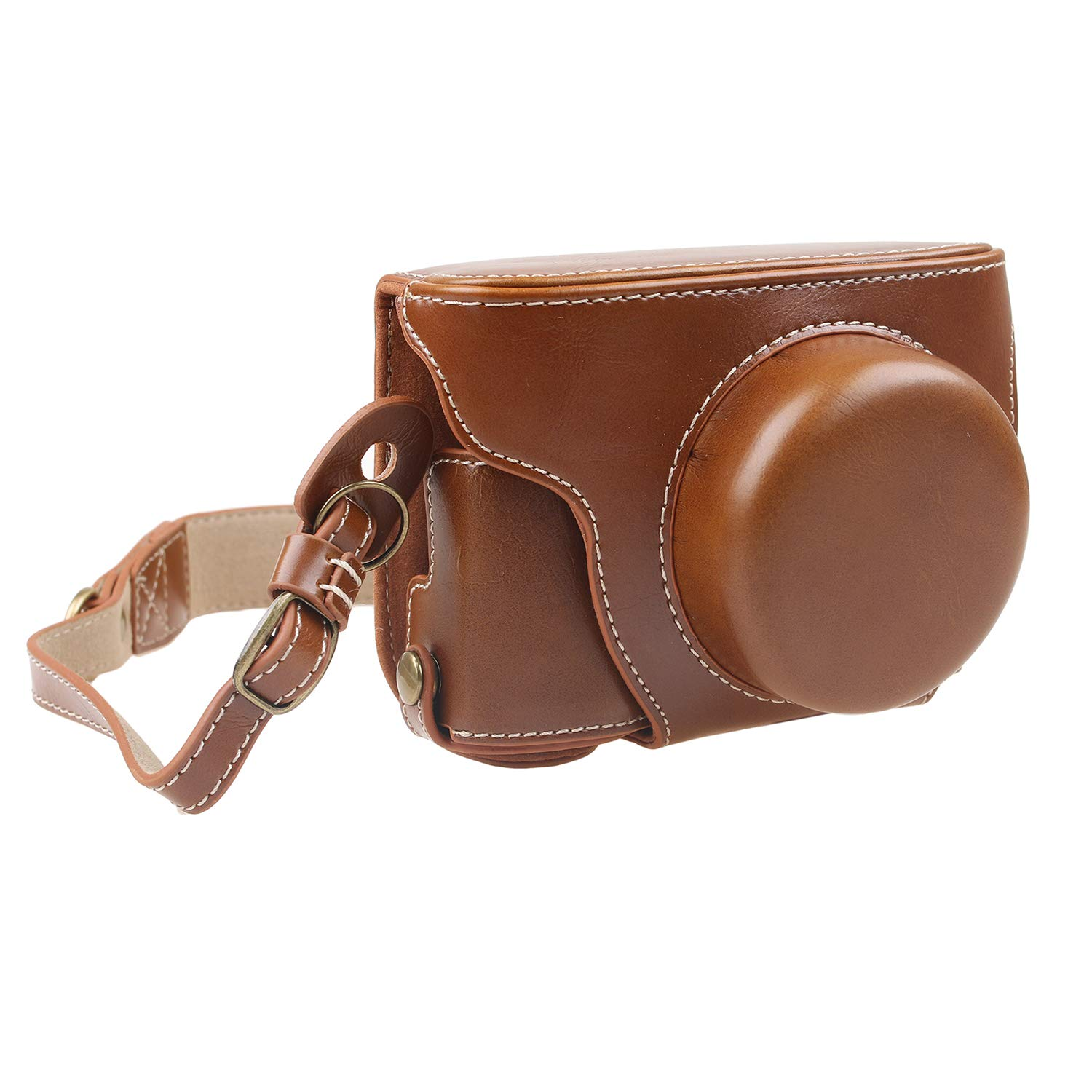 TUYUNG Protective PU Leather Camera Case Bag with Strap, Storage Case for Olympus Pen E-PL8 EPL8 with 14-42mm Digital Camera - Coffee