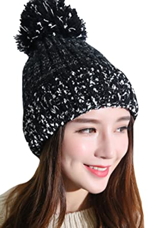 Image Unavailable. Image not available for. Color  Sweet Lovely Mixed Color Knitting  Wool Crochet Beanie Hat with Fur Ball Women Warm Skully Headwrap 35afbdb3c6a2