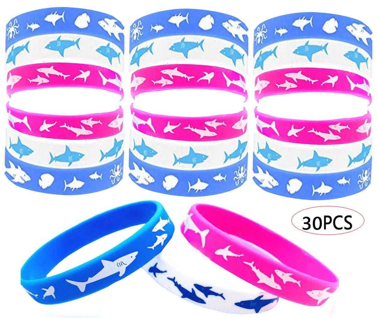 30PCS Shark Party Favors Shark Braccialetti in Silicone per Shark Festa di Compleanno Baby Shower Decorazione del Partito Biluer Festival degli Squali Bomboniere di Squalo Braccialetto in Gomma