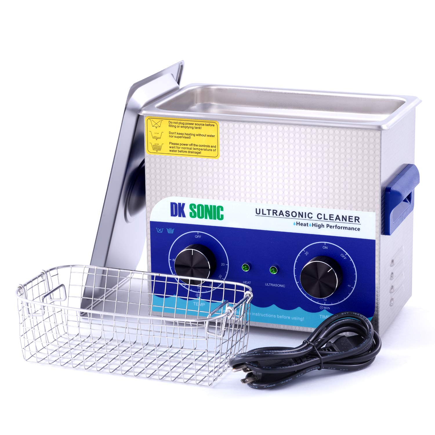 Commercial Ultrasonic Gun Cleaner Heated - DK SONIC 3L 120W Ultrasonic Jewelry Cleaner with Heater Basket for Parts Denture Carburetor Eyeglass Fuel Injector Record Circuit Board Dental 40KHz by DK SONIC (Image #7)