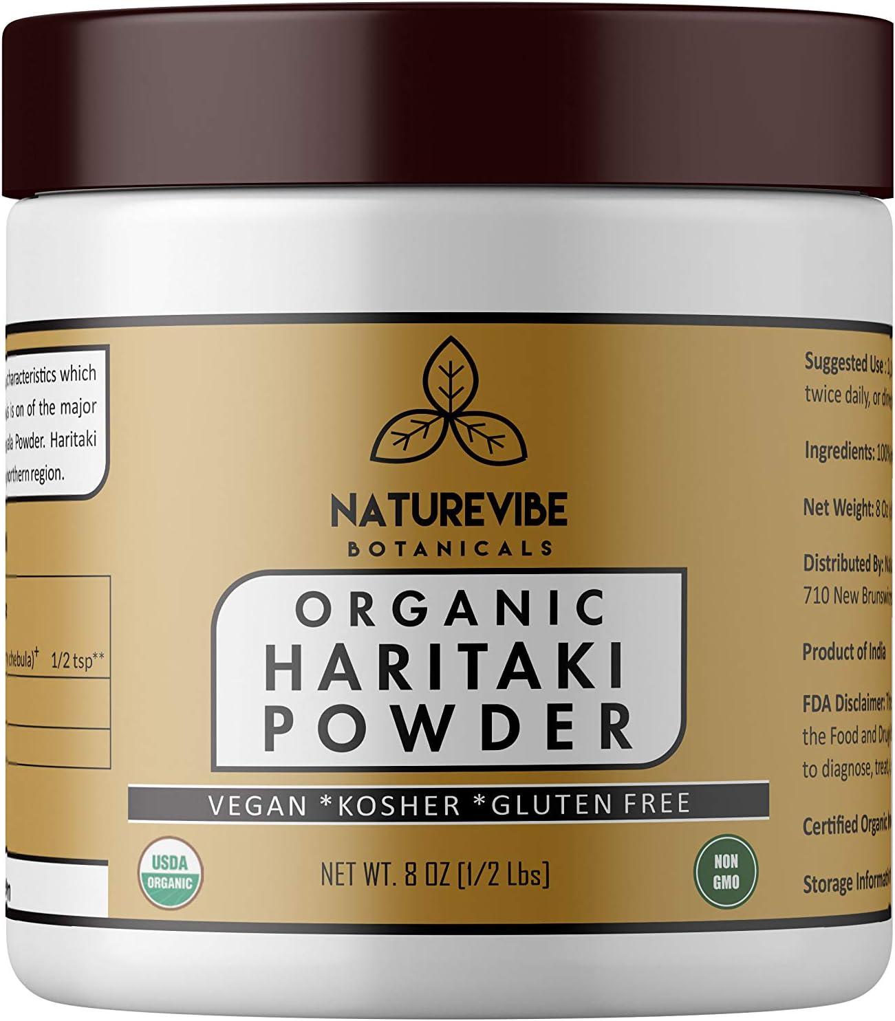 Naturevibe Botanicals Haritaki Powder (8 Oz)- USDA Organic Terminalia Chebula, Gluten Free & Non- GMO | Ayurvedic Herbal Powder