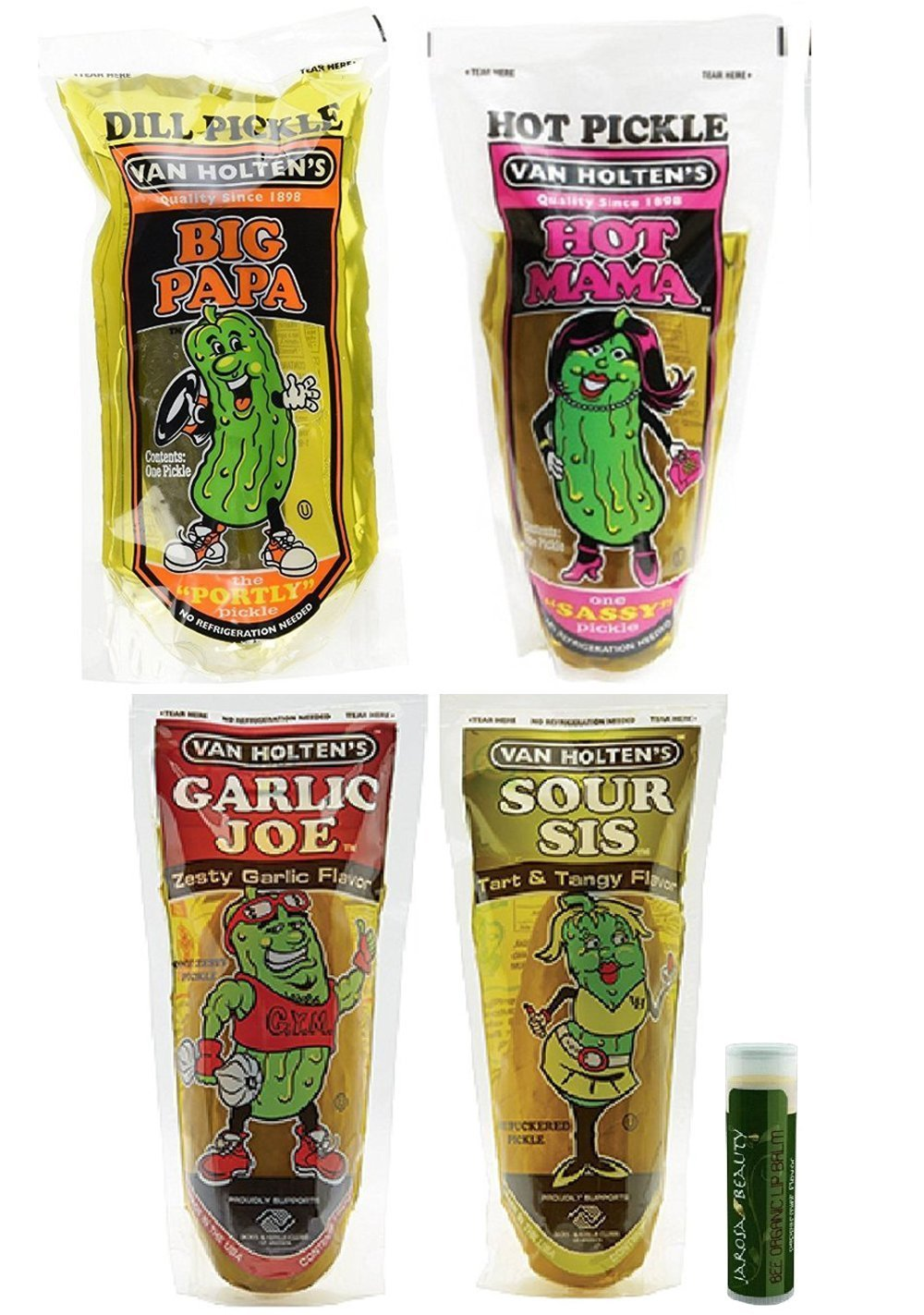 PICKLES 9 oz. Van Holtens' Meet the Family Variety Pack - Pack of 4 Includes Big Papa, Hot Mama, Garlic Joe & Sour Sis with a Jarosa Bee Organic Peppermint Lip Balm by Jarosa Gifts