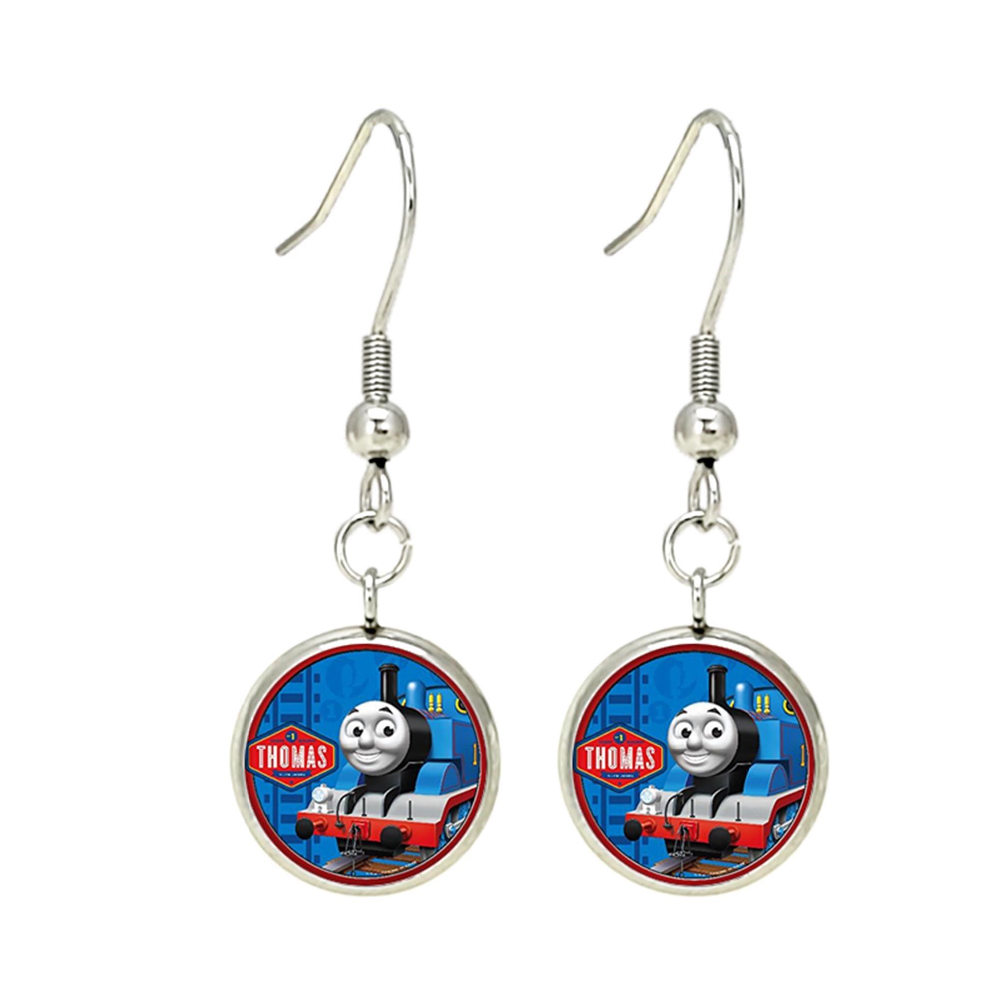 Thomas the Train Dangle Earrings TV Movies Classic Cartoons Superhero Logo Theme Premium Quality Detailed Cosplay Jewelry Gift Series
