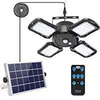 Solar Pendant Light with Remote Control,Solar Powered Shed Light with 128LED 1000LM Solar Security Motion Sensor Lights…