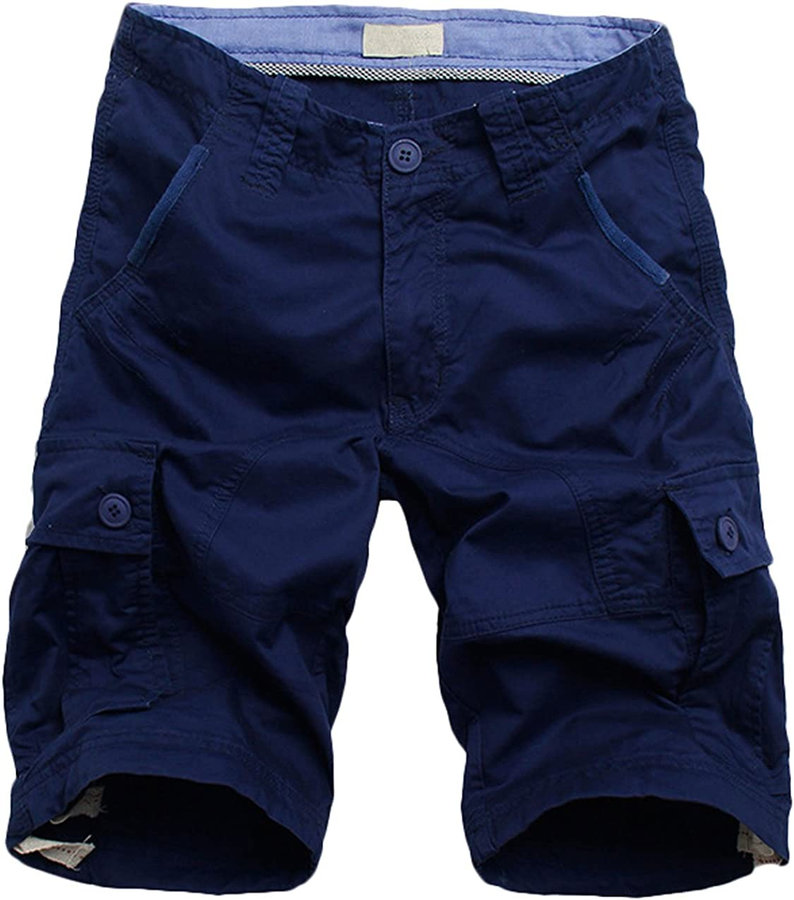 Youhan Mens Casual Loose Fitted Multi-Pocket Cotton Cargo Shorts