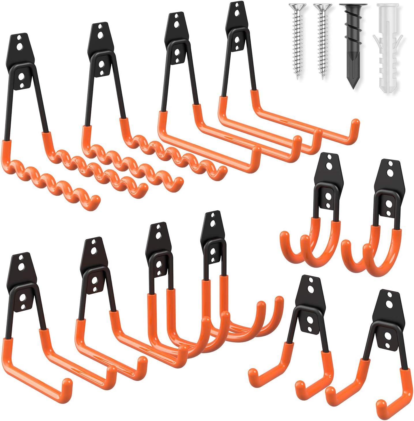 Garage Hooks Heavy Duty 12 Pack, Esky Steel Garage Storage Hooks, Tool Hangers for Garage Wall Utility Wall Mount Garage Hooks and Hangers with Anti-Slip Coating for Garden Tools, Ladders, Bulky Items