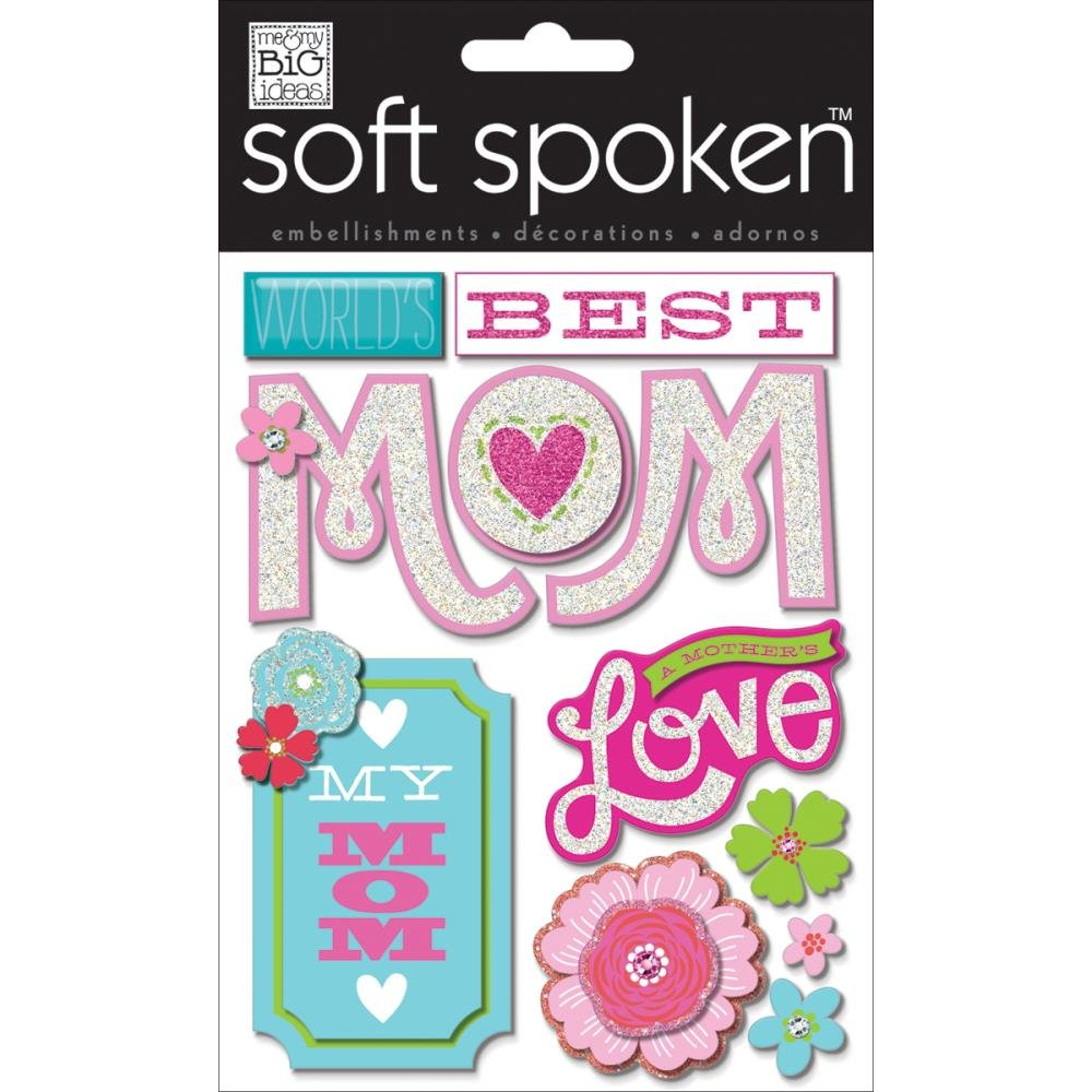 me & my BIG ideas Soft Spoken Themed Embellishments, Best Mom Me and My Big Ideas SS-1422