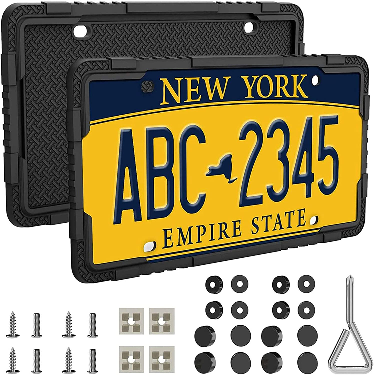 Black 2 Pcs Car License Plate Frames with Stainless Steel Screws LOFTEK Silicone License Plate Frames