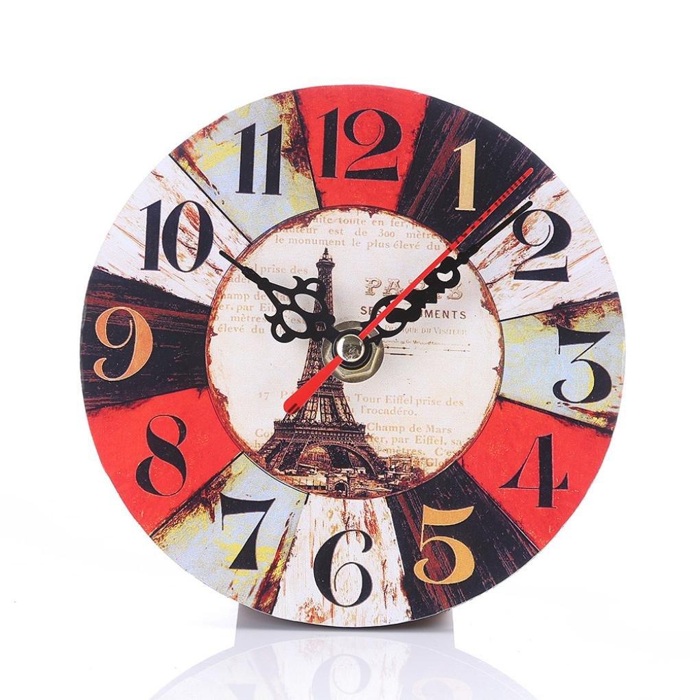 Hevoiok Wall Clock Vintage Non-Ticking Silent Antique Wood Wall Clock Home Kitchen Office Art Decal Quartz Nice Quiet Clock (Cafe Dela Tour) [Energy Class A+++]