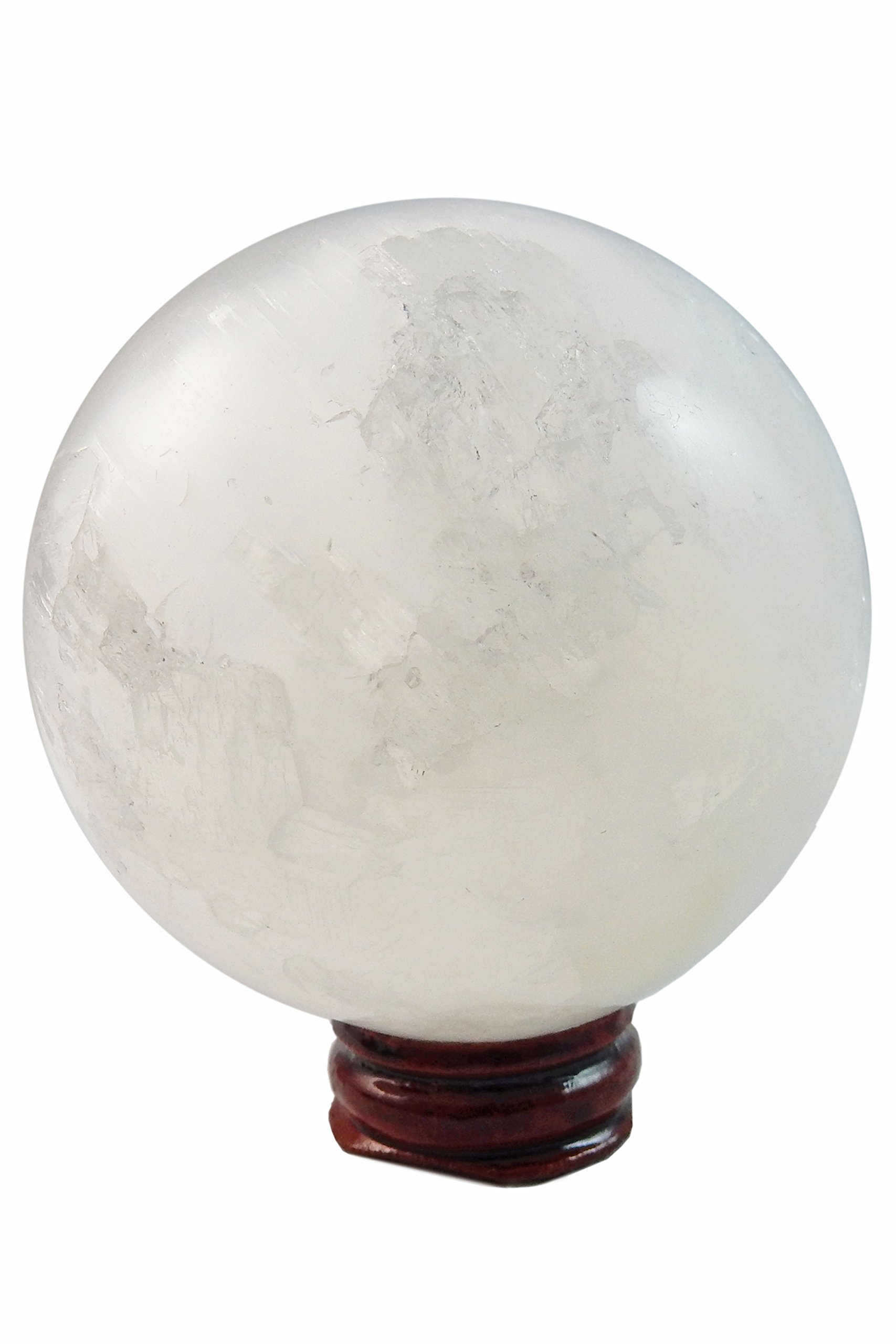 1 (One) Amazing Large Crystal Selenite Spiritual Healing Sphere / Ball on Wood Base with Certificate of Authenticity Beverly Oaks Exclusive by Beverly Oaks (Image #2)