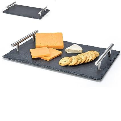 ARIANA©® Bandeja de pizarra natural 25 x 15 cm para servir alimentos queso plato
