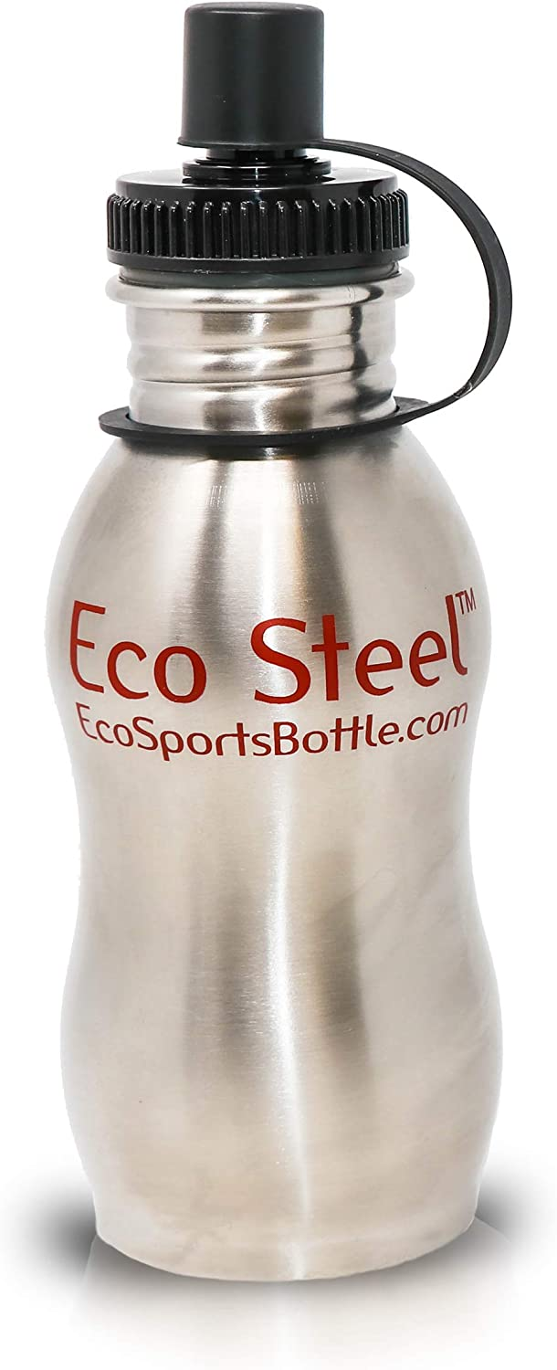 Eco Sports Stainless Steel Water Bottle - 17 oz - with Leak Resistant Sport Cap - Certified 100% BPA and Lead Free