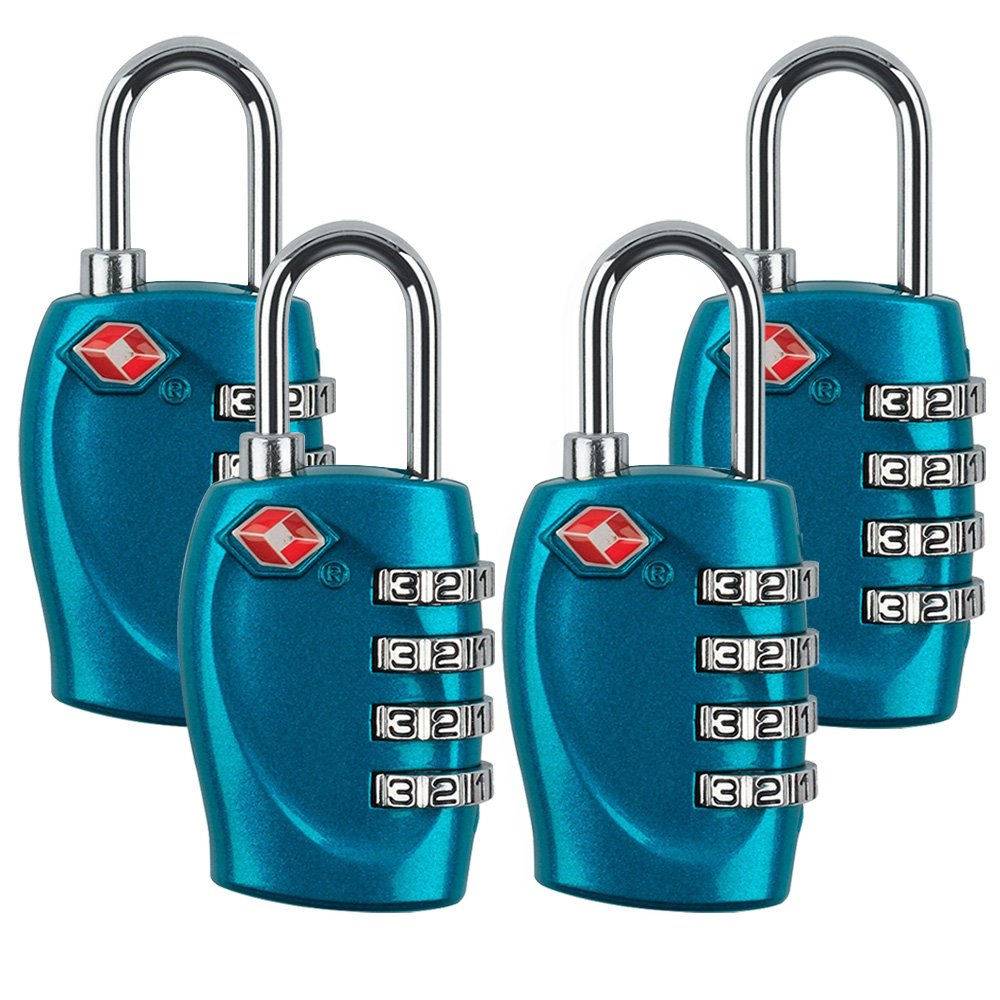 4 Dial Digit TSA Approved Travel Luggage Locks Combination for Suitcases (Blue-4pack) Yestelle