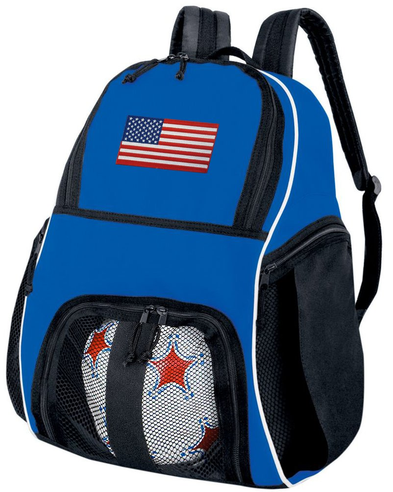 American Flag Soccer Ball Backpack USA Flag Volleyball Bag Travel Practise B01FXW4230