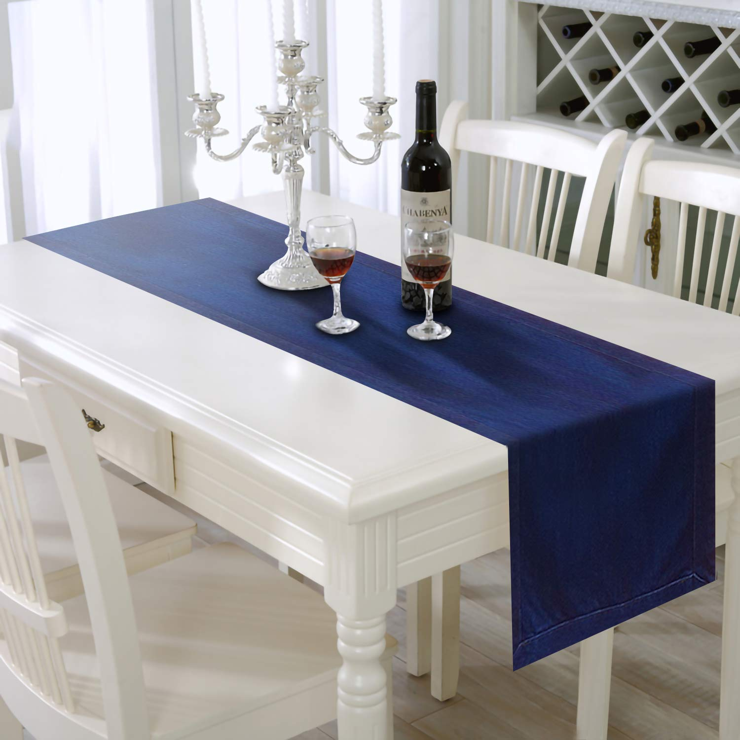 AAYU Denim Table, Bed Runner | 16 Inch x 108 Inch | Cut and Sewn All The Way Around | Premium Quality Stone Washed | Perfect for Weddings, Parties & Decor