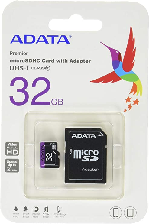 ADATA 32GB microSDHC/SDXC UHS-I U1 Class 10 Memory Card with Adapter (AUSDH32GUICL10-RA1)