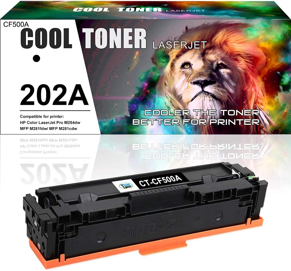 Cool Toner Compatible Toner Cartridge Replacement for HP 202A CF500A Black Toner MFP M281fdw M254dw HP Color Laserjet Pro MFP M281 M281fdw M281cdw M254dw M254dn M254nw M280nw Printer Toner-1 Pack