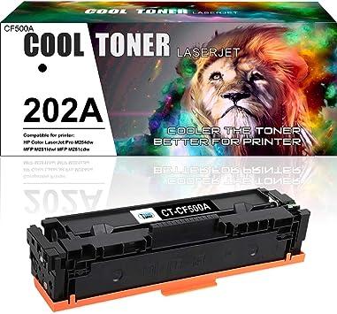 4 Pack Black M254nw M254dw M254dn MFP M280nw M281fdn M281fdw M281cdw Printers Toner Cartridge Replacement for HP 202A CF500A Toner Cartridge