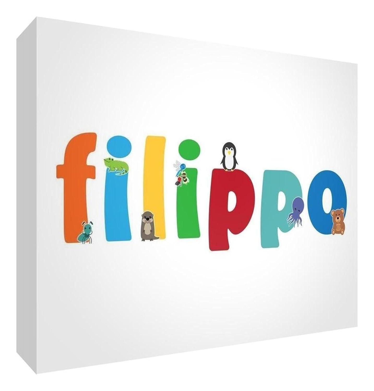 Little Helper LHV-FILIPPO-515BLK-15IT Pannello Decorativo Neonato/Battesimo Idea Regalo, Disegno Personalizzabile con Nome da Ragazzi Filippo, 5 x 15 x 2 cm