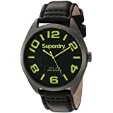 Superdry Mens Military Quartz Brass-Plated-Stainless-Steel and Leather Dress