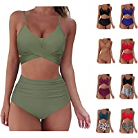 FIRERO Swimsuits for Women Tankini Two Piece Bathing Suits Tummy Control Swimwear Ruffled Top High Waisted Swimming Suits