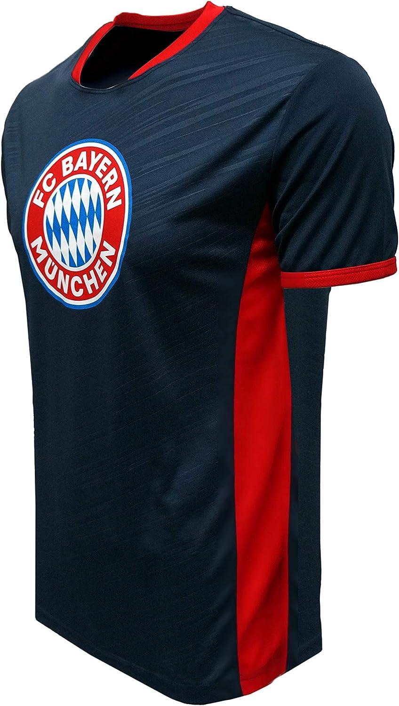 Navy, Medium FC BAYERN MUNICH Official Merchandise by HKY Sportswear Men/'s Short Sleeve Contrast Inserts Jersey