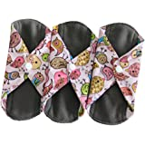 Sanitary Reusable Cloth Menstrual Pads by Heart Felt | XL Cloth - 3 Pack Washable Sanitary Napkins with Charcoal Absobancy Layer - Overnight Long Panty Liners for Comfort and Support