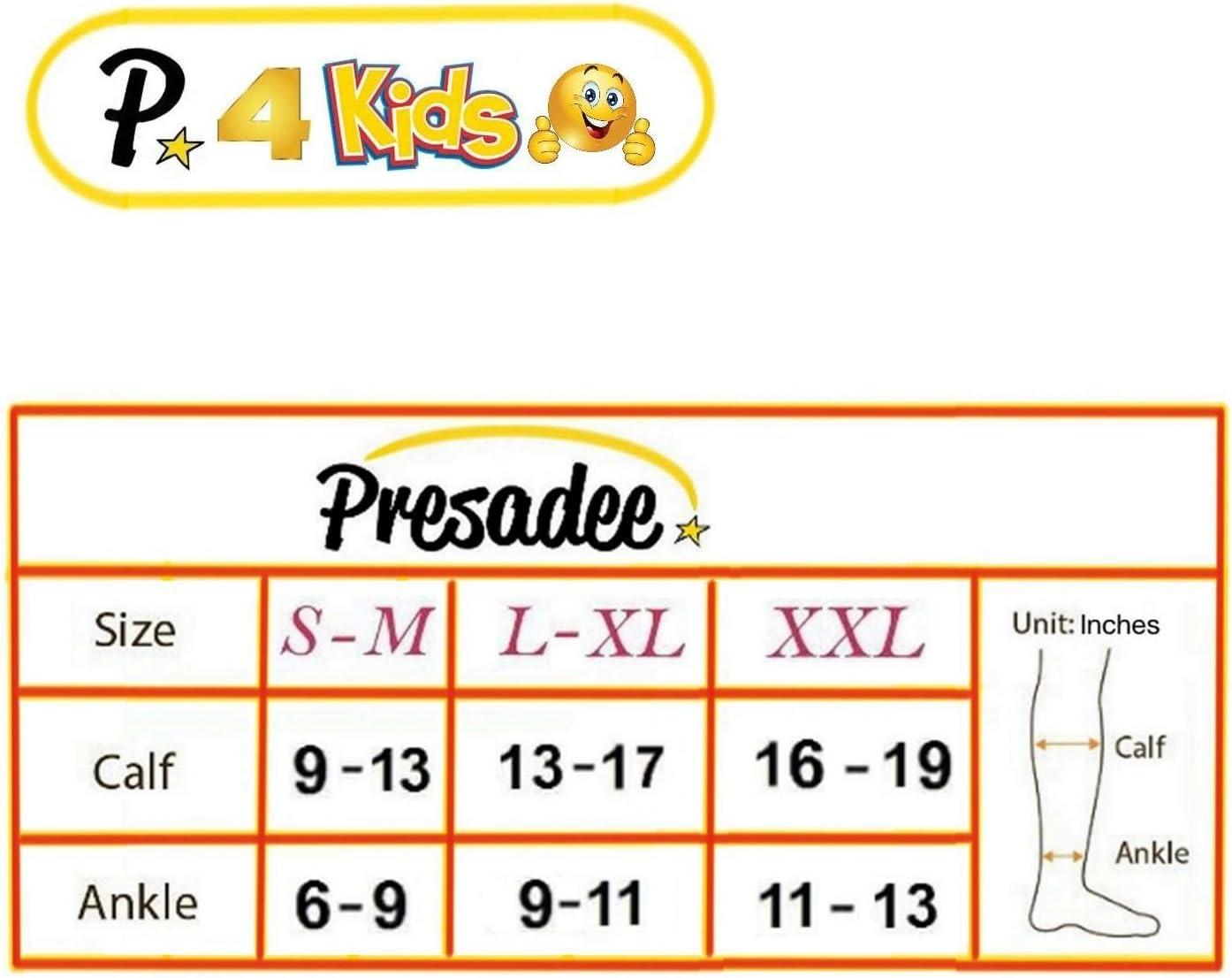 Presadee Kid/'s Edition Easy Zipper Compression Socks Knee Length Energize Leg Circulation Performance Fatigue Support Black, 2XL