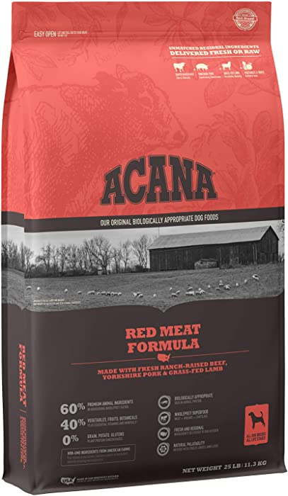 Acana Grain Free Dog Food, Red Meat, Ranch-Raised Beef, Yorkshire Pork, Grass-Fed Lamb, 25lb