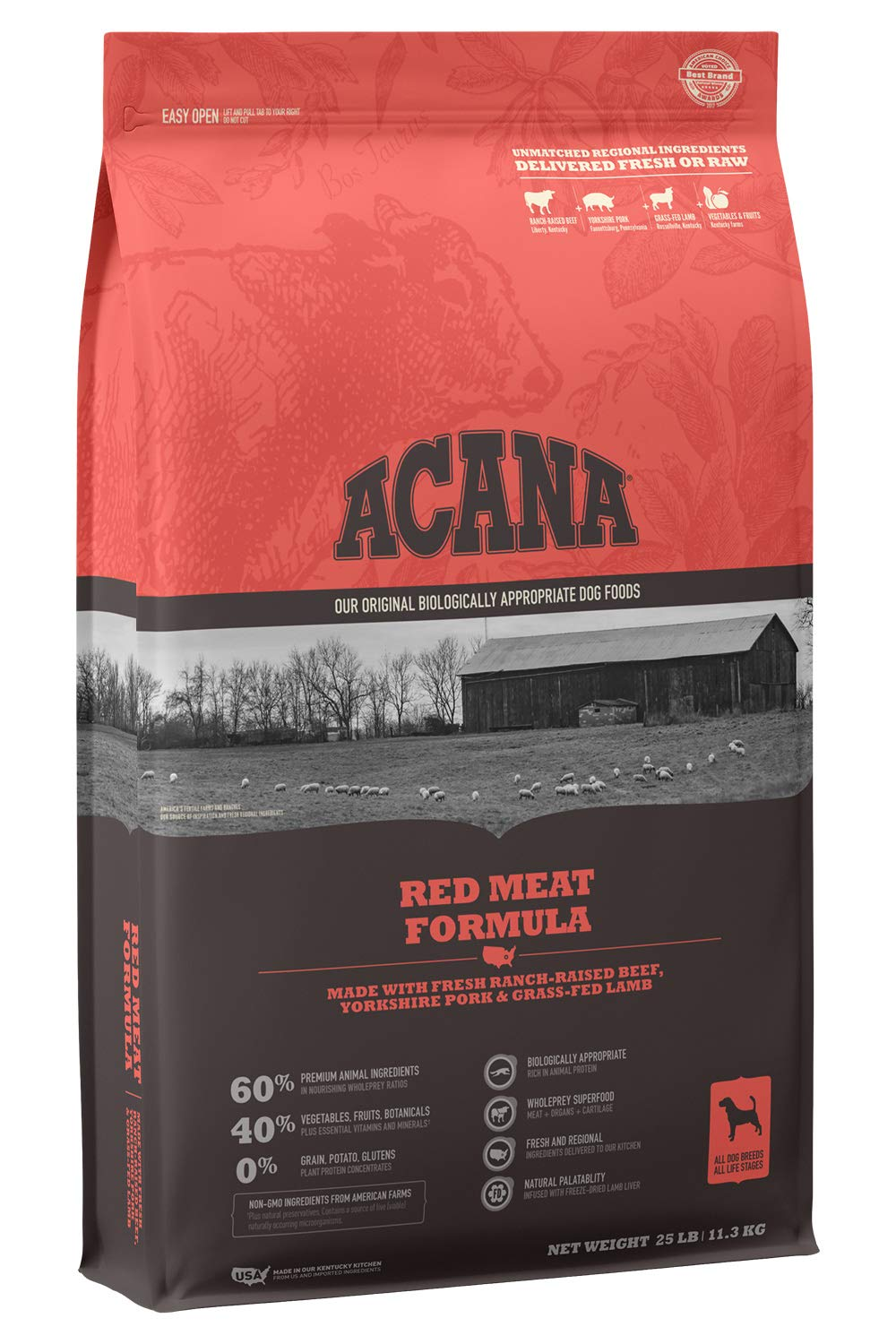 ACANA Heritage Dry Dog Food, Red Meat, Biologically Appropriate & Grain Free by ACANA