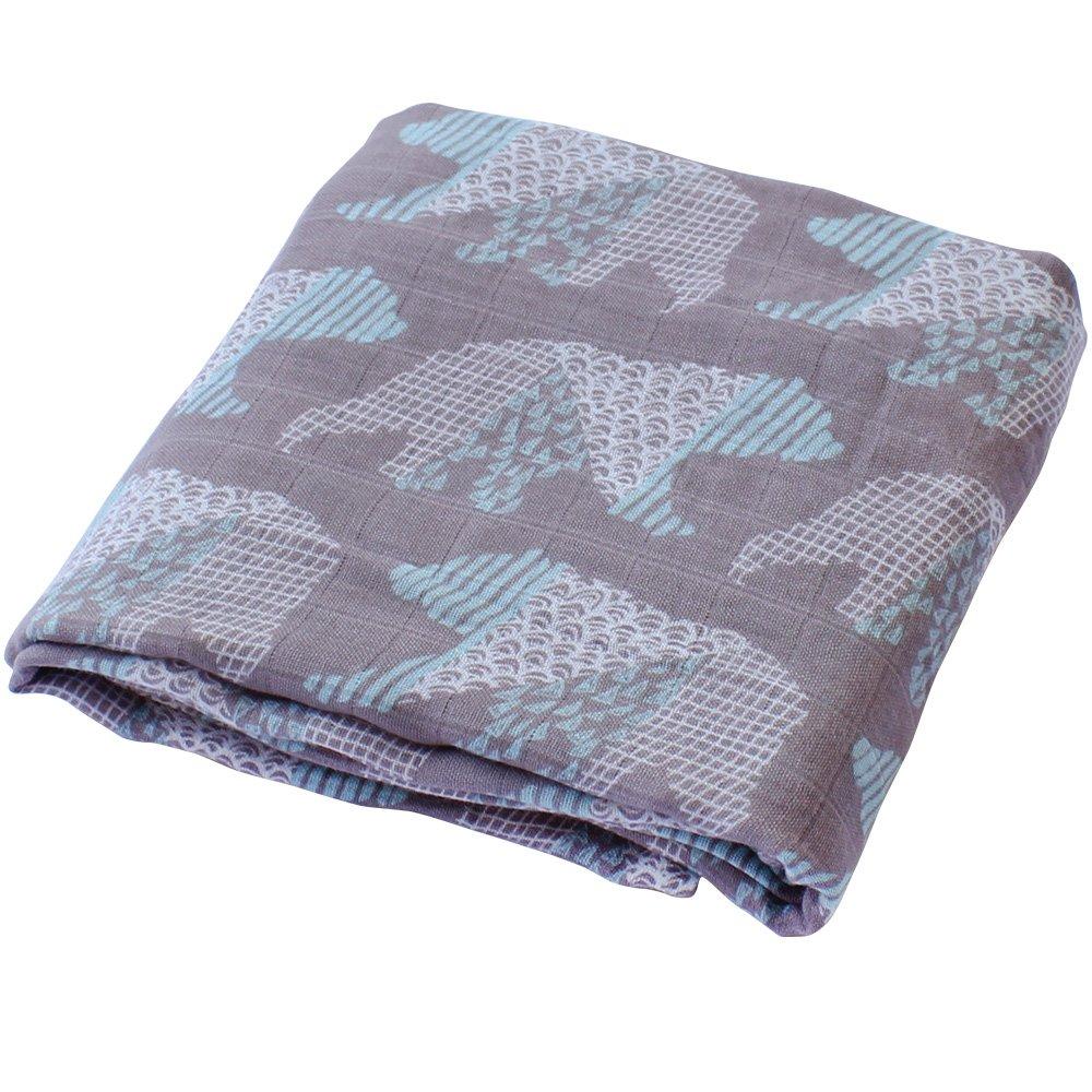 LifeTree Sommer Weichen Musselin Pucktücher, 120 x 120 cm Bambus/Baumwolle Swaddle Blanket, Mullwindeln für Junge und Mädchen (Bär) Lebze