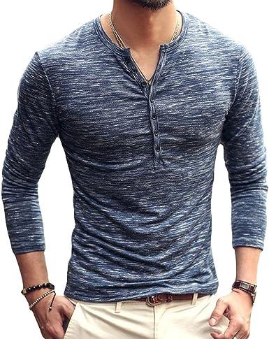 Polo Manga Larga para Hombre Color Sólido Cuello V Camisetas Hombre Cuello Pico con Botones Blusa Otoño Invierno Tallas Grandes T-Shirt: Amazon.es: Ropa y accesorios