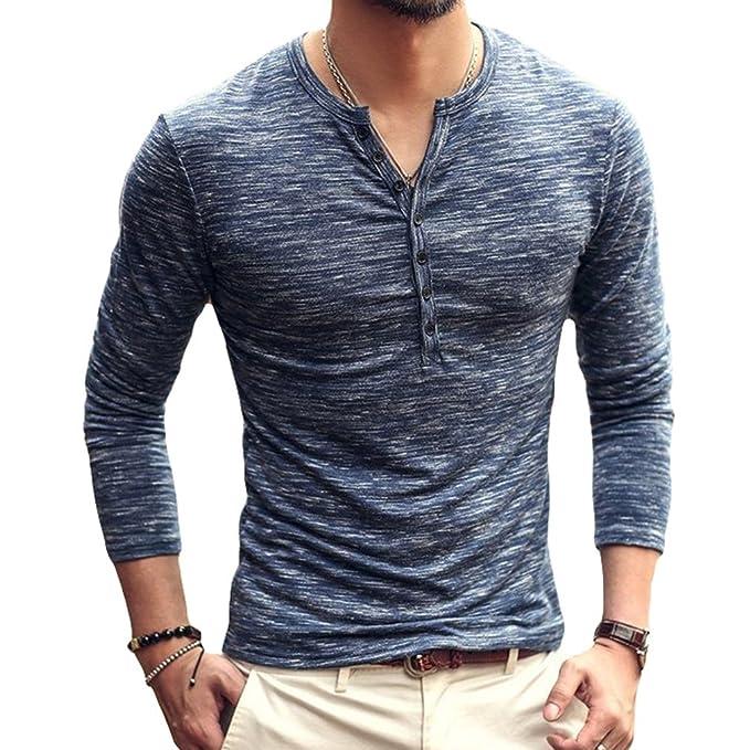 12f2533c4779 Polo Manga Larga para Hombre Color Sólido Cuello V Camisetas Hombre Cuello  Pico con Botones Blusa Otoño Invierno Tallas Grandes T-Shirt  Amazon.es   Ropa y ...