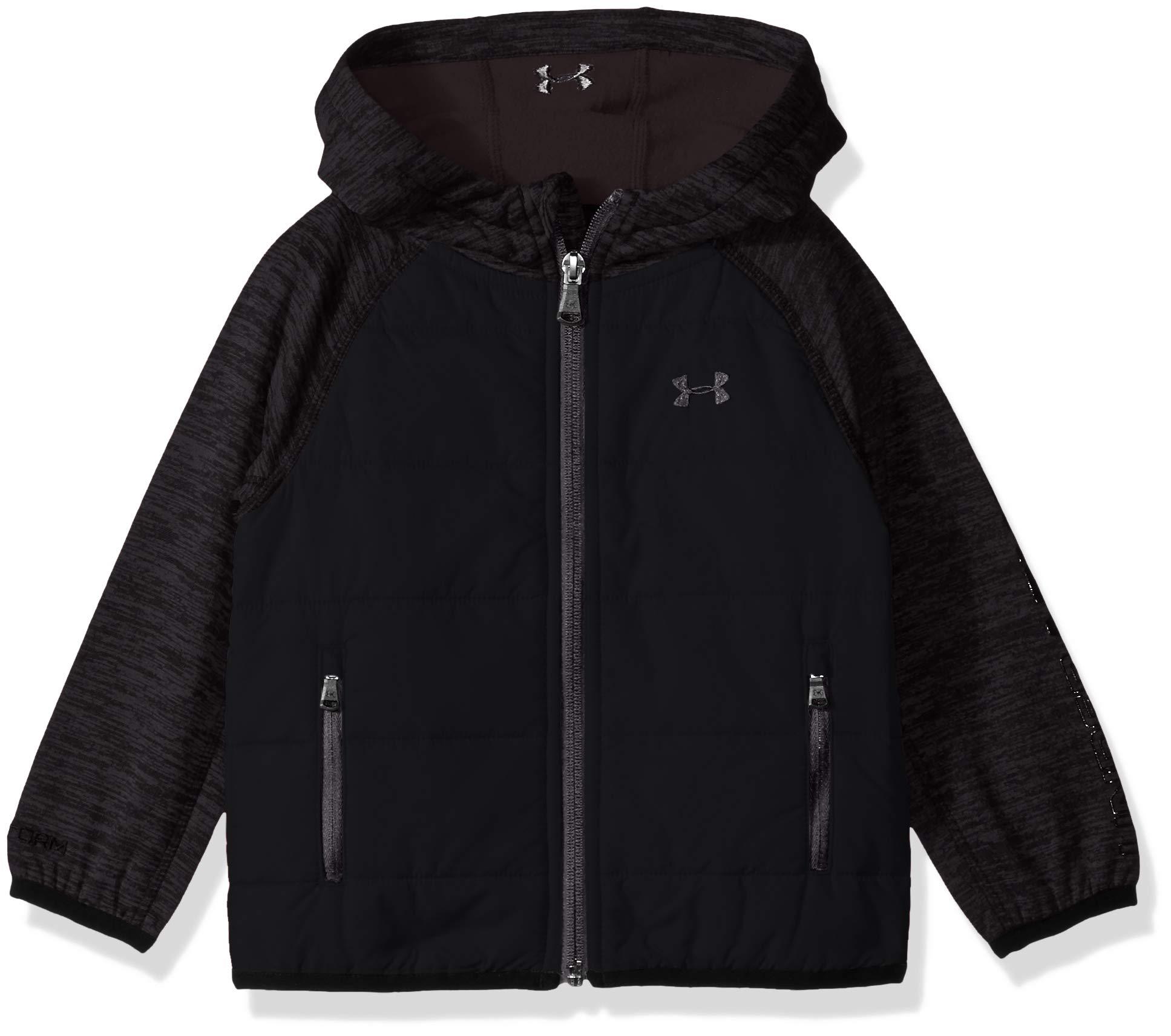 Under Armour Boys' Big Day Trekker Hooded Hybrid Jacket, Black, Large (14/16)