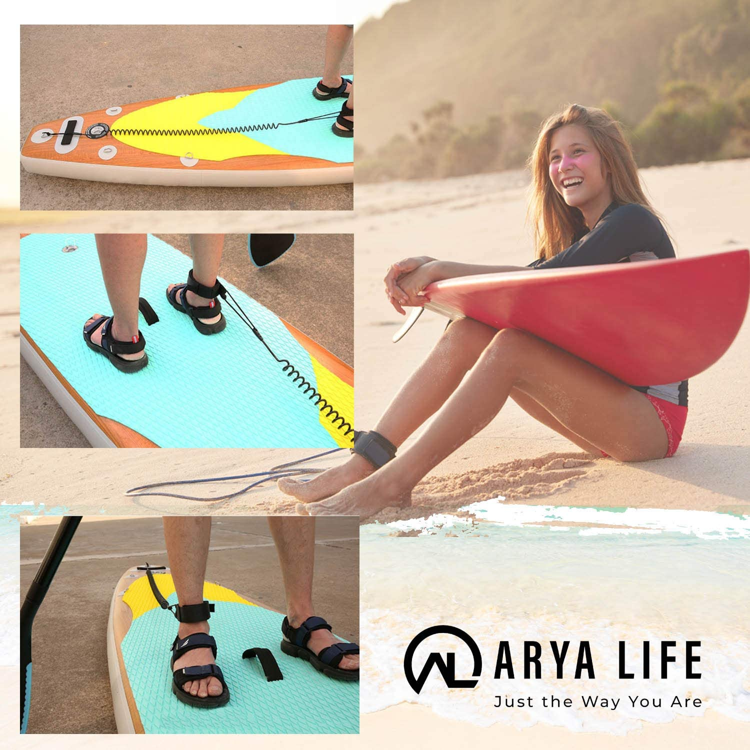 Arya Life SUP Leash 10 Foot Coiled Stand Up Paddle Board Surfboard Leash Stay on Board Ankle Strap,Blue