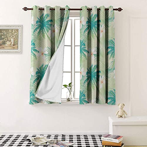 1GShophome Room Darkening Curtains Tropical Palm Tree with Flowers Seamless Pattern Grommet Kid Blackout Curtains 1 Pair, 36 Width x 54 Length Each Panel