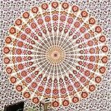 JHC's Queen White Orange Indian Hippie Mandala Tapestry Art Bedspread Beach Dorm Bohemain