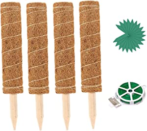 4Pcs 15.7 Inch Plant Support Coir Totem Pole, Moss Poles for Climmbing Plant with 65 Feet Garden Twist Tie and 20 Pieces Plant Labels, Coir Moss Stick for Plant Support Extension (15.7 Inch)
