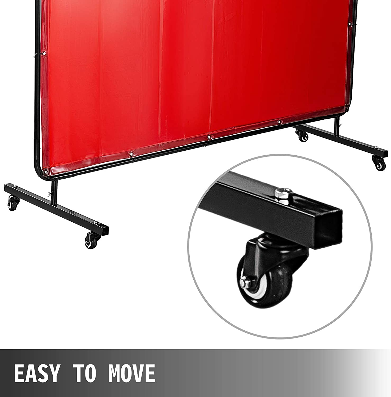 Welding Protection Screen Green Flame-Resistant Vinyl Mophorn Welding Screen with Frame 6 x 6 Welding Curtain with 4 Wheels Portable Light-Proof Professional