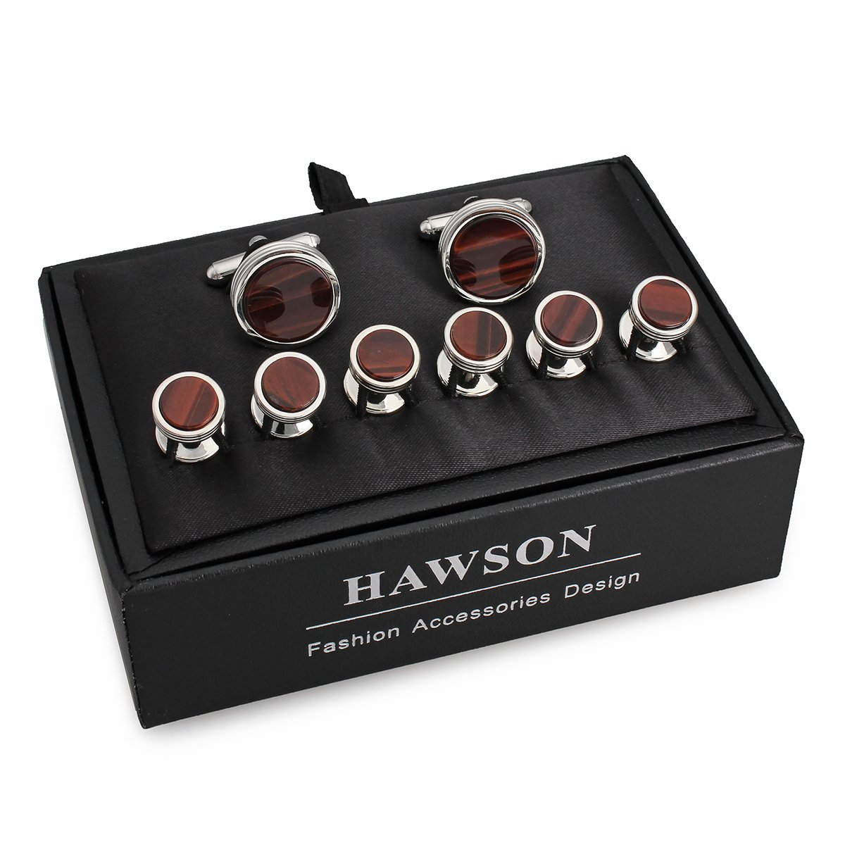 HAWSON Mens Cufflinks Studs Set Tuxedo Shirt Burgundy Mother Pearl Tuxedo Studs Wedding Business Daily Life Come a Gift Box by HAWSON